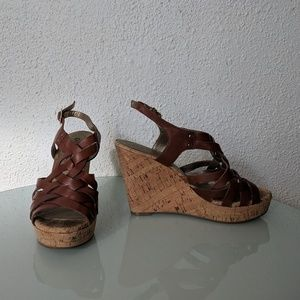 Guess Brown Cork Wedges